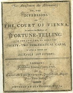 colonial era cartmancy cards - Google Search