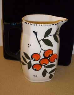 Vintage Hand-Painted Czech Bern Floral Pitcher - 7 1/4""