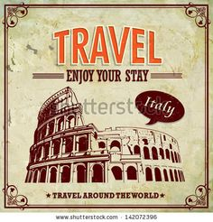Vintage Travel Italy Colosseum in Rome vacation labels - stock vector