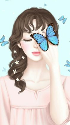 Find images and videos about girl, fashion and cute on We Heart It - the app to get lost in what you love. Anime Korea, Korean Anime, Korean Art, Korean Illustration, Illustration Girl, Lovely Girl Image, Cute Girl Drawing, Girly Drawings, Butterfly Art