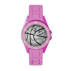 Pink or White Basketball Watches for Women & Girls.  Basketball Stuff With many being Customizable with YOUR NAME and or NUMBER.  Tons more Custom and Personalized Basketball Gifts CLICK HERE: http://www.zazzle.com/littlelindapinda/gifts?cg=196808750908670951&rf=238147997806552929*/  ALL of Little Linda Pinda Designs CLICK HERE: http://www.Zazzle.com/LittleLindaPinda*/