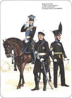 Ducato di Brunswick - Quatre Bras, 1815 - 1) Ufficiale, Squadrone Ulani - 2) Duca di Brunswick - 3) Sergente Maggiore, Leib-Battalion.