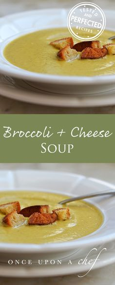 Broccoli & Cheese Soup with Homemade Croutons #broccoli #cheese #soup