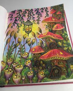 Whimsical mushroom houses. #mindfulness #klaramarkova #carovnelahodnosti #adultcoloringbook #adultcoloring #magicaldelights