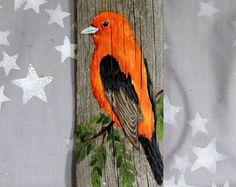 "Scarlet Tanager, bright colored bird, artwork on Ozarks barnwood, 3 1/2"" x 10"""