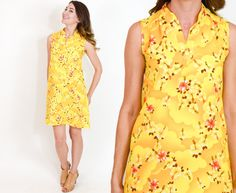70s Yellow Floral Dress | Tropical Hawaiian Print Dress Medium by charlialana from Charli Alana Vintage. Find it now at http://ift.tt/1Q5HhAl!