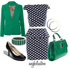 Green and Navy by angkclaxton on Polyvore