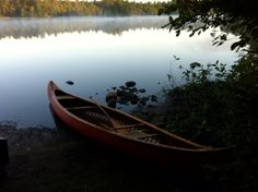 Caonoe on the shore at Rollins Pond Campground - NYSDEC Campgrounds