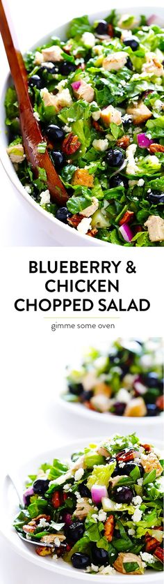 Blueberry & Chicken Chopped Salad -- quick and easy to make, sweet and savory, and SO delicious!   gimmesomeoven.com