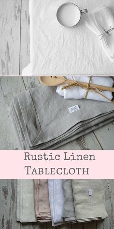 Love the linen material, so simple and so beautiful. Handmade Rustic stonewashed linen tablecloth with mitered corners.You will have simple design and practical tablecloth.These beautiful linen tablecloth will just look better after every wash. #rustic #farmhouse #homedecor #diningroom #diningroomideas #linen #etsy #affiliate