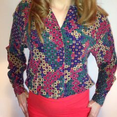Vintage Silk Small S.L.B Patterned Blouse #SunnyLeigh #Blouse
