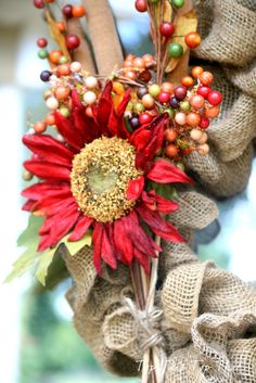 Fall Entry Decor with Burlap Wreath