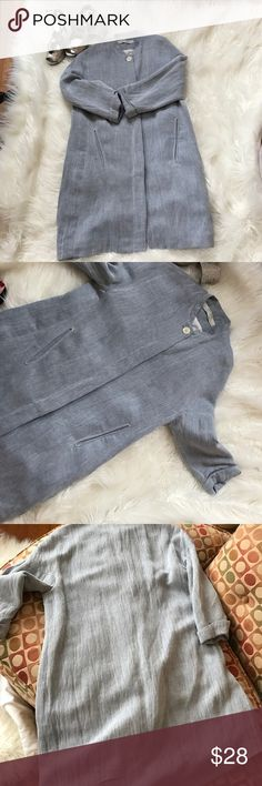 """Zara linen blend jacket Zara linen blend jacket, 33"""" long, three-quarter cuffed sleeves, hidden buttons, fully lined, faux pockets,  labeled extra small, but roomier than that Zara Jackets & Coats Blazers"""