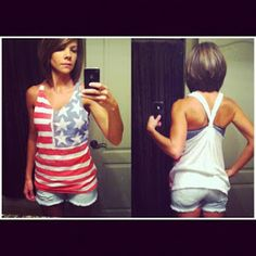 4th of July tank!! I'm totally doing this! Great idea! This would be great for the July 4th color run as well!
