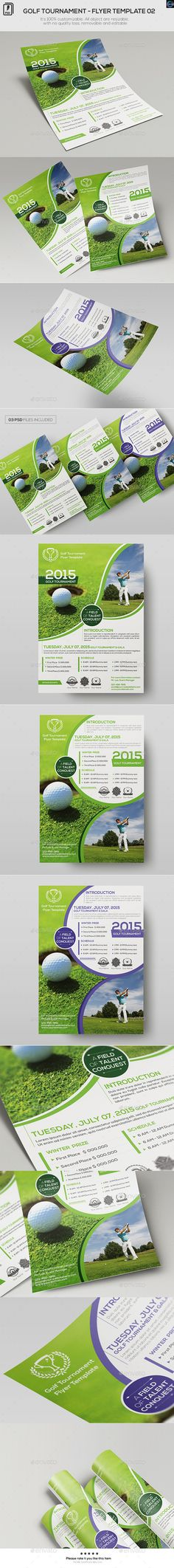 Buy Golf Tournament - Flyer Template 02 by on GraphicRiver. All object are resizable, with no quality loss, removable and editable 03 different . Brochure Design, Flyer Design, Cv Web, Fitness Flyer, Christmas Flyer, Promotional Flyers, Event Flyer Templates, Party Flyer, Marketing