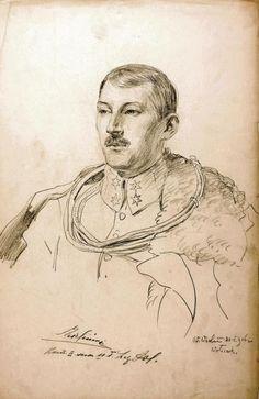 Por. Kazimierz Zieliński, komendant 2. szwadronu 2.p.uł., rys. Wincenty Wodzinowski