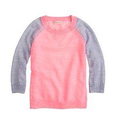 Girls' neon colorblock sweater