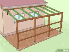 How to Add a Lean To Onto a Shed. When your shed or other storage building no longer provides enough room, you can add additional storage if you add a lean-to onto a shed. If the existing shed is structurally sound and has an exterior wall. Lean To Carport, Lean To Roof, Rustic Pergola, Curved Pergola, Lean To Shed Plans, Diy Shed Plans, Lean To Shelter, Shed Construction, Metal Shed