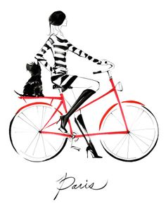 paris woman on a red bike illustration Art And Illustration, Bicycle Illustration, Paris Mode, I Love Paris, Paris Style, Bicycle Art, Scottie Dog, Tour Eiffel, Fashion Sketches