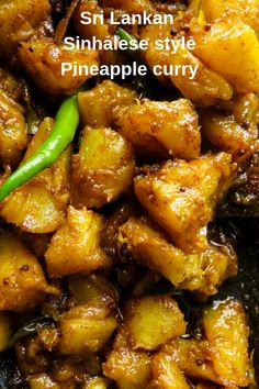 A Sri Lankan spicy pineapple curry cooked the Sinhalese way. it's a curry that can easily be used for a savory side dish for all you lovers of spicy food. The best Sri Lankan Pineapple curry I've cooked so far. Spicy Recipes, Curry Recipes, Indian Food Recipes, Asian Recipes, Vegetarian Recipes, Chicken Recipes, Cooking Recipes, Ethnic Recipes, Pineapple Recipes Indian