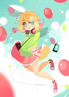 rin kagamine vocaloid art by projectTiGER_ on twitter Wow I like this art style