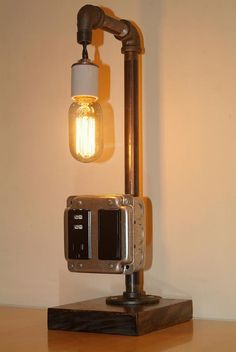 Vintage style steam punk lamp with USB charger by UnknownParadigm