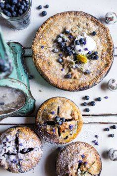 Perfect for celebrating the first days of summer! Sweet Blueberry Buttermilk Pies with Chamomile Cream | halfbakedharvest.com @hbharvest
