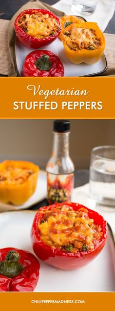 Vegetarian Stuffed Peppers - A Mexican Vegetarian recipe for sweet bell peppers stuffed with Mexican rice and cheese, baked, then topped with your favorite hot sauce. Party down with this party sized recipe! Or make a smaller batch and save the rice for other meals. Or freeze some for later.
