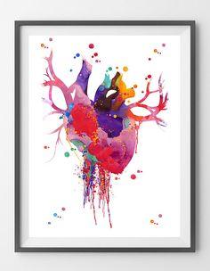Heart Anatomy Watercolor Print Abstract Medical Art The Human