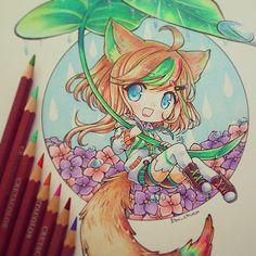 """""""Please, do not copy my draws without my permission, thanks"""" """"Painted with pencil cretacolor"""" Esta pequeña pertenece a aluikaiser de deviantart, se llama loivis. Asi que eso, no me molesta que dibujen mis dibujos, pero no me agrada que se dejen el credito :'( #chibi #kawaii #tradicional #kitsune #ame #lluvia #ortensias #ieafy #instadraw #instaanime #kemonomimioc"""