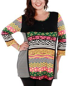 LOVE LOVE LOVE! Loving this Black & Pink Pattern Play Tunic on #zulily! #zulilyfinds