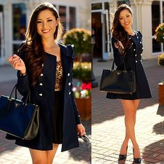 Long Sleeve Double Breasted Flare Hem Wool Coat