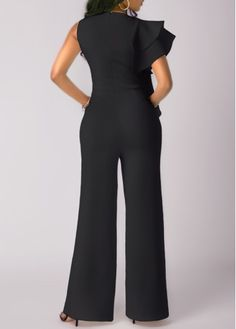 Wide Leg Black High Waist Flouncing Jumpsuit on sale only US$32.06 now, buy cheap Wide Leg Black High Waist Flouncing Jumpsuit at liligal.com