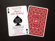 Set of 24 Casino Night Poker Playing Card Theme Birthday Invitations. $24.00, via Etsy.    These are different @Alice Cartee L