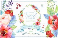 Fresh Flowers watercolor Pack by OctopusArtis on Creative Market
