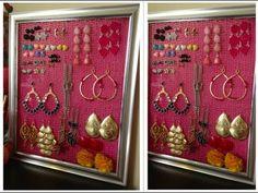 DIY: Como hacer organizador de Pendientes, Aretes, Zarcillos... Earring ...
