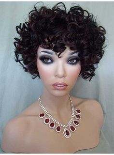 Smooth Tailored Remy Short Curly Top Quality Synthetic Hair Wig 8 Inches