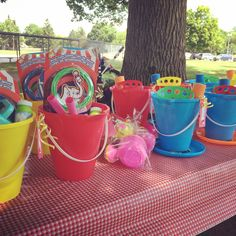 Loot bags - filled with fun outdoor toys to play with during the party