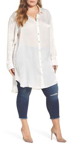 d21730b585b Plus Size Satin Tunic Shirt Tägliche Outfits
