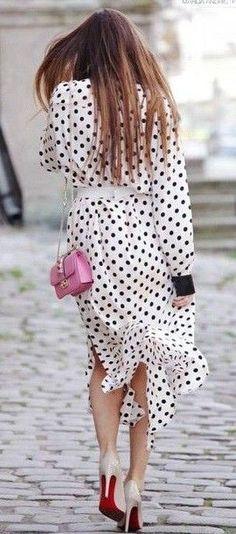 #summer #ultimate #classy #outfitideas    Polka Dot Shirt Dress