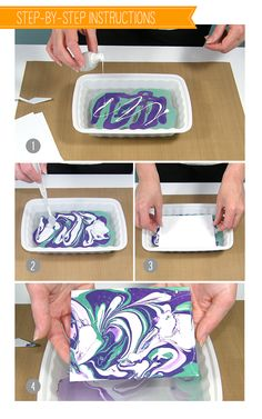 Nail polish marbling technique, as seen on the Wplus9 design blog. Fun way to create papers to use for paper crafting!