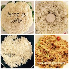 Arroz de coliflor con verduras (¡arroz si arroz!) Healthy Low Carb Recipes, Raw Food Recipes, Veggie Recipes, Healthy Snacks, Vegetarian Recipes, Healthy Eating, Cooking Recipes, Helathy Food, Comida Keto