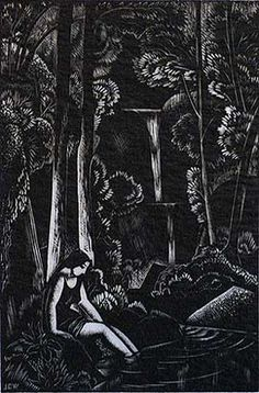 The Waterfall | Wood engraving, 1933 | by JOHN BUCKLAND-WRIGHT, British (1897-1954).