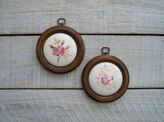 Vintage Pink Rose Ceramic Plaques ~ Shabby Chic Cottage Wall Decor ~ Round Wood Frame Wall Hanging Set Pair of Floral Farmhouse Wall Plaque
