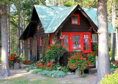 black cabin red trim - Google Search