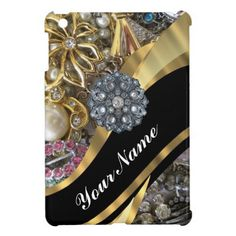 Black & gold bling iPad mini cover