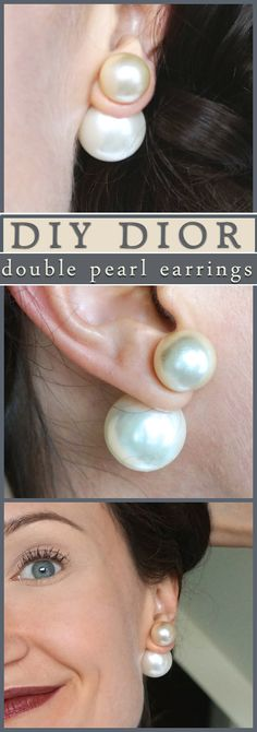 DIY double pearl earrings… Dior knockoff and other giant pearl jewelry-- a fun twist on a fashion classic!