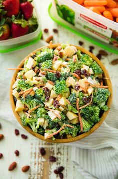 This Healthy Broccoli Apple Salad isthe perfect easy side dish for spring and summer barbecues, potlucks and picnics. Best of all, it's so easy to make! Apple Salad Recipes, Salad Recipes For Dinner, Dinner Recipes For Kids, Healthy Salad Recipes, Picnic Recipes, Diet Recipes, Healthy Potluck, Healthy Snacks, Healthy Picnic Foods