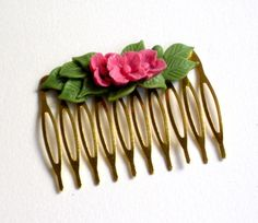 Golden plated haircomb with pink flower cabochon by HirasuGaleri, $12.00