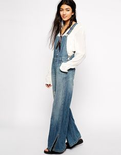 Image 1 of Free People Flared Dungarees with D Ring Detail